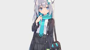 Anime Anime Girls Artwork Illustration School Uniform Schoolbags Missing Glove Scarf Skirt White Hai 2860x2000 Wallpaper