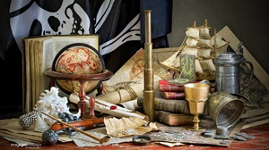 Book Coin Compass Pirate Flag Shell Telescope 2000x1333 Wallpaper