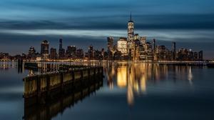 Building City Manhattan New York Night Skyscraper Usa 6144x3335 Wallpaper