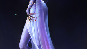 Warcraft World Of Warcraft Blizzard Entertainment Alisa Nilsen Women Fantasy Girl White Hair Yellow  1920x3592 Wallpaper