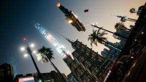 City Cityscape California Cyberpunk Cyberpunk 2077 Street View Trees Palm Trees Futuristic Skyscrape 3840x2160 Wallpaper