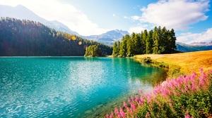Landscape Nature Green Flowers Lake Field Blossom Sky Clouds Lights Sunlight Trees 5670x3443 Wallpaper