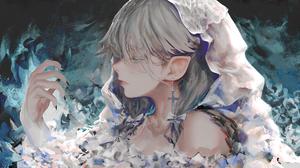 Anime Anime Girls Elf Ears Gray Hair Black Nails Long Nails Blue Eyes Fantasy Girl 1920x1080 Wallpaper