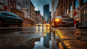 Car City Cityscape Lights Headlights Night Puddle Reflection Graffiti Cranes Machine Street Traffic  1920x1080 Wallpaper