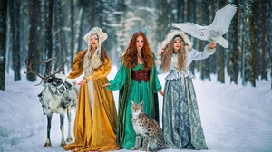 Women Trio Winter Snow Cold Fantasy Girl Women Standing Dress Women Outdoors Animals Owl Lynx Reinde 2000x1333 Wallpaper