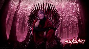 Jujutsukaisen Sukuna Yuji Itadori Red Eyes Anime Boys Demon Eyes Devil King Red Background Throne 1920x1080 Wallpaper