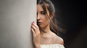 Sergey Fat Women Model Looking At Viewer Long Hair Brunette Straight Hair Simple Background Face Bar 1920x1080 Wallpaper