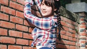 Linnnng Women Model Asian Plaid Shirt Brunette Bangs Braids Braided Hair Looking At Viewer Portrait  2667x4000 Wallpaper