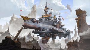 Illustration Science Fiction Airships Steampunk Digital Fan Wennan Clouds 3840x2307 Wallpaper