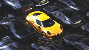Car ArtStation CGi Render Digital Art Yellow Cars Black Cars Vehicle Ford GT Ford Ford GT Mk I Alfa  1920x1200 Wallpaper