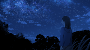 Girl Night Sky Starry Sky 1920x1180 Wallpaper