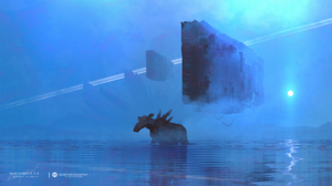 Desktopography Photoshop Digital Moose Spaceship Water Fantasy Art Kuldar Leement Elk Blue Cyan 2560x1440 Wallpaper