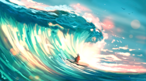 Bunny Surfboard Surfing Wave 1950x1080 Wallpaper