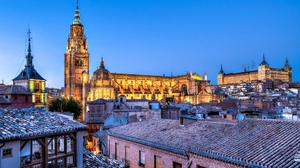 Building Castilla La Mancha Cathedral Church City House Night Spain Toledo 1920x1200 Wallpaper