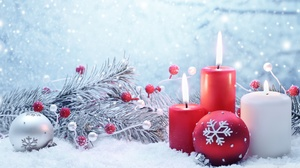 Christmas Ornaments Candle 1920x1080 wallpaper