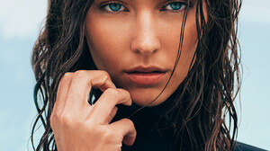 Women Model Brunette Long Hair Blue Eyes 2734x4096 Wallpaper