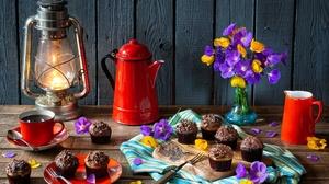 Coffee Cupcake Flower Lantern Still Life 5184x3456 Wallpaper