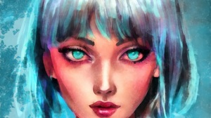 Young Woman Hair Blue Hair Illustration Lips Makeup Colorful Eyes Face Fashion Women Watercolor Port 5590x5590 Wallpaper