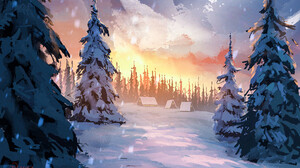 Snow Forest Sky 2048x1365 Wallpaper