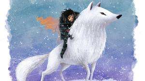 Game Of Thrones Jon Snow Wolf 2677x1506 Wallpaper