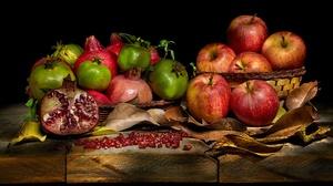 Apple Fruit Pomegranate Still Life 5000x3333 Wallpaper
