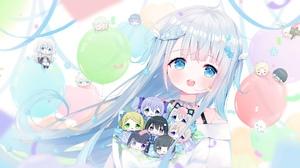 Anime Anime Girls Blue Eyes Open Mouth Silver Hair Long Hair Chibi Amatsuka Uto Virtual Youtuber 1920x1080 Wallpaper