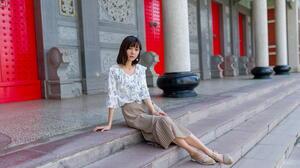 Asian Model Women Long Hair Brunette Sitting Skirt Blouse Stairs Earring Column 1920x1280 Wallpaper