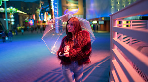 Fur Coats Red Clothing Fur Jacket Looking Away Looking At The Side Women Outdoors Redhead Umbrella J 2054x1280 Wallpaper