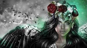 Angel Black Hair Blue Eyes Fantasy Flower Girl Rose Wings Woman Wreath 2048x1144 wallpaper