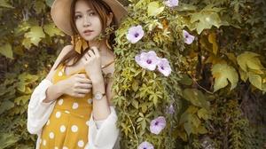 Asian Brunette Dress Flower Girl Hat Model Woman 2400x1800 Wallpaper
