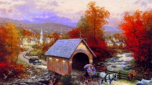 Covered Bridge Horse Drawn Vehicle 1900x1425 Wallpaper