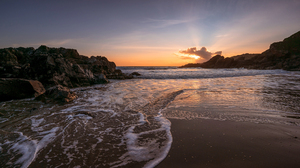 Nature Landscape Sky Clouds Beach Rocks Sea Sunset Sand 1920x1080 Wallpaper