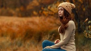 Women Model Outdoors Fall Beanie Sitting Nature Jeans 2048x1365 Wallpaper