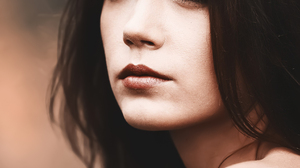 Yuri Egoroff Women Ksenia Kokoreva Looking Up Dark Eyes Brunette Makeup Eyeliner Lipstick Bare Shoul 1728x2000 wallpaper