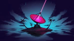 Digital Digital Art Artwork Illustration Trees Palm Trees Laser Antenna Island 4K 3840x2160 Wallpaper