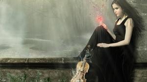 River Violin Woman 1440x900 Wallpaper