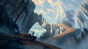 Artwork Digital Art Landscape Philipp A Ulrich Castle Road Trees Knight Sky Clouds Dragon 3000x1500 Wallpaper
