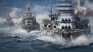 World Of Warships Battleship War Ocean Battle 1920x1080 Wallpaper