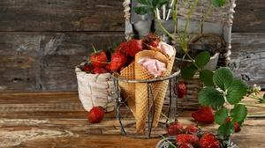 Berry Fruit Ice Cream Still Life Strawberry Waffle Cone 4856x3885 Wallpaper