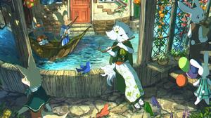 Anthro Rabbits Boat Dog Water Oar Roses Flowers Balloon Dress Fox Lavender Flowerpot Bricks Cobblest 1409x1000 Wallpaper
