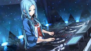 Blue Eyes Blue Hair Dj Laptop Light School Uniform 2250x1101 Wallpaper