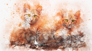 Artistic Cat Painting Pet 3000x2000 Wallpaper