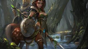 Centaur Fantasy Forest Girl Green Eyes Horns Pointed Ears Shield Warrior Woman 1920x1267 wallpaper