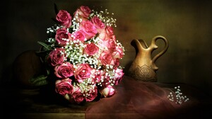 Baby 039 S Breath Bouquet Flower Pink Flower Pitcher Rose Still Life Vase 3960x2740 Wallpaper