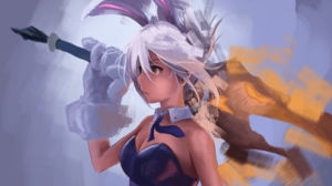League Of Legends Riven Riven League Of Legends Girl With Weapon Simple Background Bunny Girl Bunny  1920x1080 Wallpaper