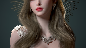 Su Jung CGi Women Brunette Crown Long Hair Makeup Wavy Hair Jewelry Necklace Dress White Clothing Si 1920x2700 Wallpaper