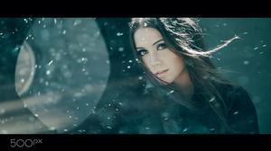 Ksenia Kokoreva Women Brunette Long Hair Looking At Viewer Makeup Portrait Snowing Coats 2000x1333 Wallpaper