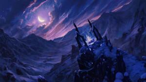 Ond Ej Hrdina Landscape Digital Art Fantasy Art Crystal Moon Starry Night 1920x1080 Wallpaper