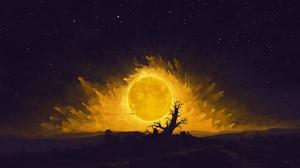 Digital Painting Landscape Night Moon Romantic Couple BisBiswas 1920x1080 Wallpaper