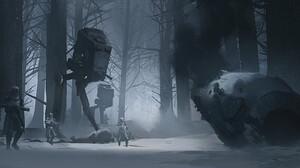 Star Wars Artwork AT AT Winter Snow Ice Science Fiction 1920x895 Wallpaper